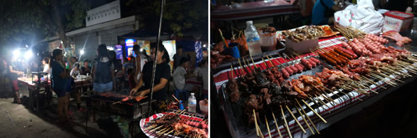 An array of local BBQ stalls in Poblacion Oslob