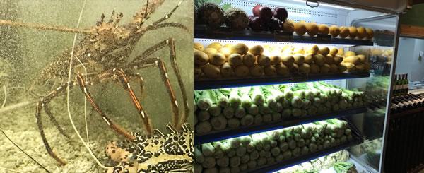 ロブスターと果物